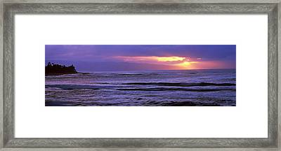 Surf In The Ocean At Sunset, Oahu Framed Print by Panoramic Images