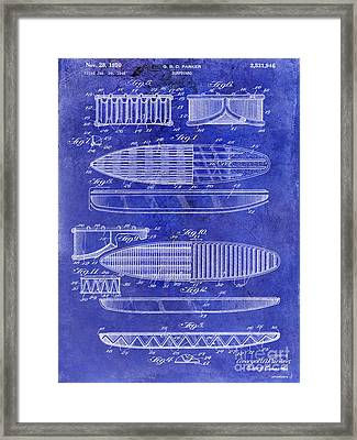 Surfboard Patent Drawing 1950 Blue Framed Print