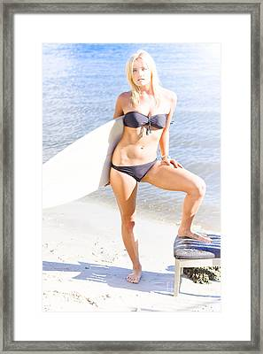 Surfboarding Person Posing With Surfboard Framed Print