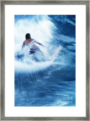 Surfer Carving On Splashing Wave, Interesting Perspective And Blur Framed Print by Carl Shaneff