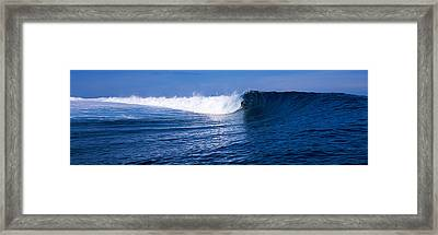 Surfer In The Sea, Tahiti, French Framed Print