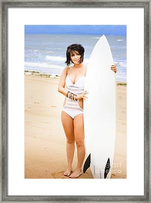 Surfer On The Beach Framed Print