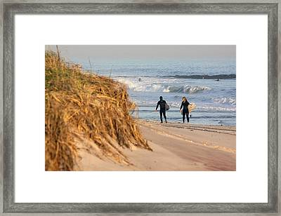 Surfers At Beach Westhampton New York Framed Print