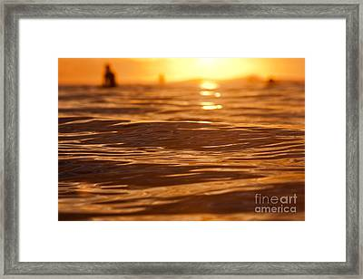 Framed Print featuring the photograph Surfers Sunset by Paul Topp