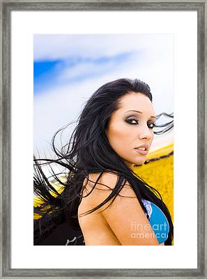 Surfing Woman Framed Print by Jorgo Photography - Wall Art Gallery