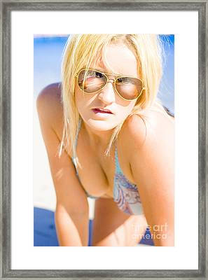 Surprised And Thought Provoked Blond Woman On Beach Framed Print
