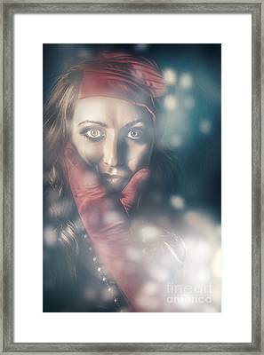Surprised Blonde Pinup Woman In Vintage Fashion Framed Print