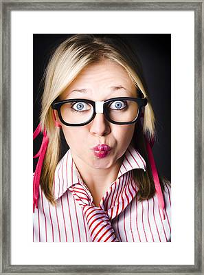 Surprised Business Woman With Thinking Expression Framed Print by Jorgo Photography - Wall Art Gallery