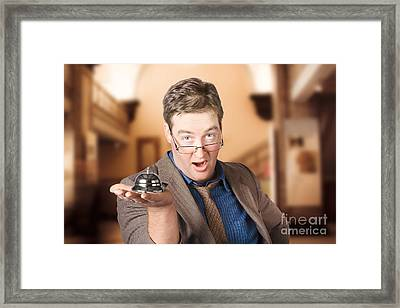 Surprised Customer Holding Retail Service Bell Framed Print by Jorgo Photography - Wall Art Gallery