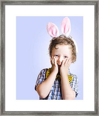 Surprised Easter Kid Looking Shocked Framed Print by Jorgo Photography - Wall Art Gallery