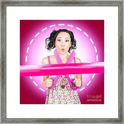 Surprised Hairdressing Woman With Beautiful Hair Framed Print by Jorgo Photography - Wall Art Gallery