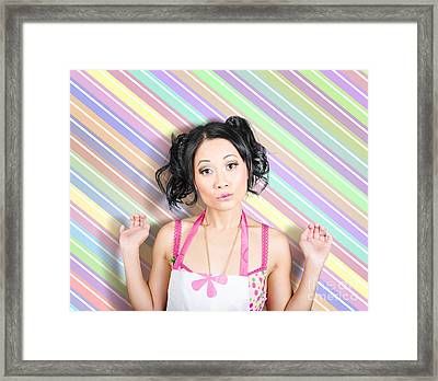 Surprised Housewife On Stripe Copyspace Framed Print by Jorgo Photography - Wall Art Gallery