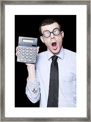 Surprised Mathematical Man With Financial Solution Framed Print by Jorgo Photography - Wall Art Gallery
