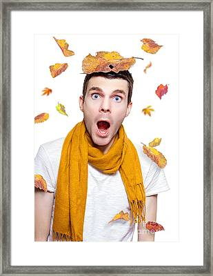 Surprised Person Having Fun With Tree Leaf On Head Framed Print by Jorgo Photography - Wall Art Gallery