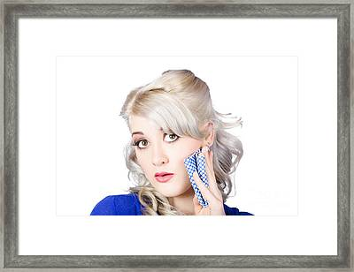 Surprised Retro Pinup Woman Holding Cleaning Rag  Framed Print by Jorgo Photography - Wall Art Gallery