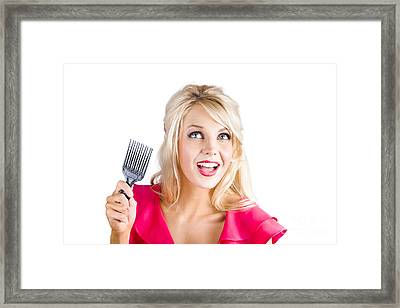 Surprised Woman With Pinup Hair Brush Framed Print by Jorgo Photography - Wall Art Gallery