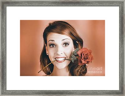 Surprised Young Woman Getting Valentine Flower Framed Print by Jorgo Photography - Wall Art Gallery