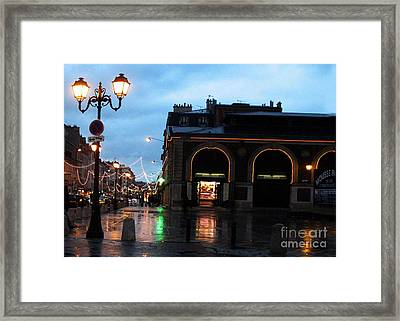 Surreal Rainy Night Streets Of Versailles France  Framed Print by Kathy Fornal