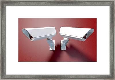 Surveillance Cameras On Red Framed Print