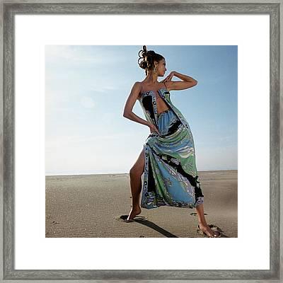 Susan Murray Posing On A Beach Framed Print