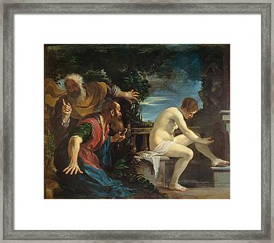 Susanna And The Elders Framed Print by Guercino