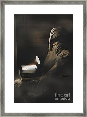 Suspenseful Reporter Cracking Undercover Story Framed Print by Jorgo Photography - Wall Art Gallery