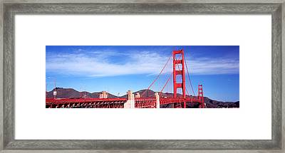 Suspension Bridge Across A Bay, Golden Framed Print by Panoramic Images