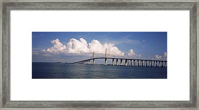 Suspension Bridge Across The Bay Framed Print