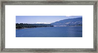 Suspension Bridge With Mountain Framed Print
