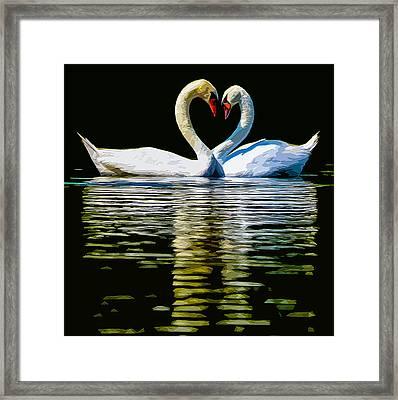 Swan Heart Framed Print