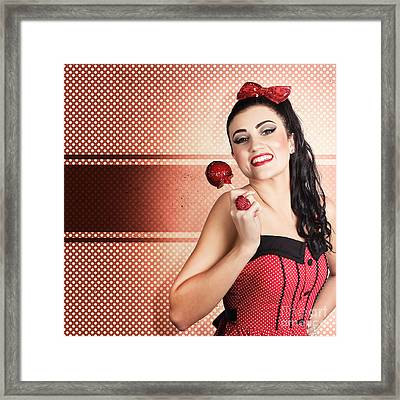 Sweet Candy Pinup Girl With Vintage Toffee Apple Framed Print