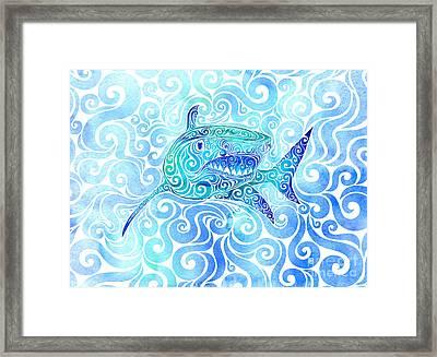 Swirly Shark Framed Print