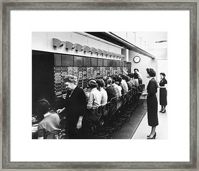 Switchboard Operators Framed Print by Underwood Archives