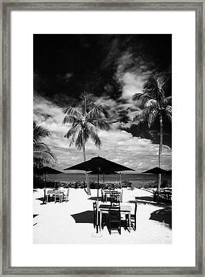 Tables Sun Recliners And Private Beach Surrounded By Palm Trees Islamorada Florida Keys Usa Framed Print by Joe Fox