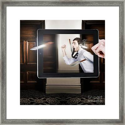Tablet Display Playing Funny Interactive Movie Framed Print