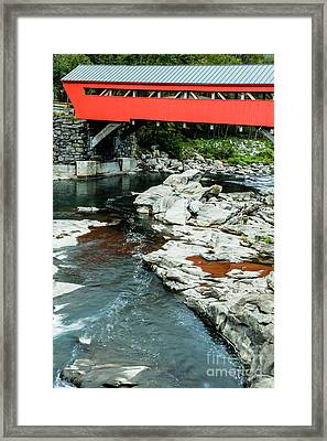 Taftsville Covered Bridge Vermont Framed Print by Edward Fielding