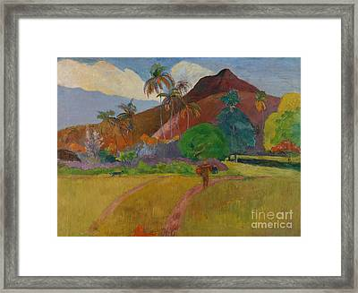 Tahitian Landscape Framed Print by Paul Gauguin