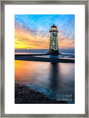Talacre Lighthouse Sunset Framed Print by Adrian Evans
