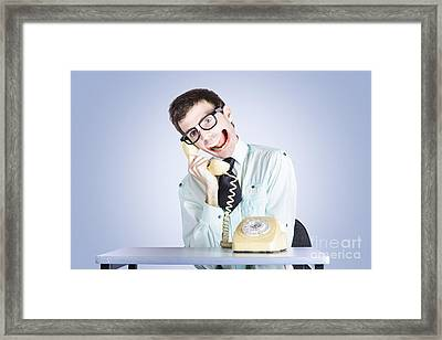 Talkative Nerd Man With Big Mouth Framed Print