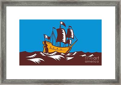Tall Sailing Ship Retro Woodcut Framed Print by Aloysius Patrimonio