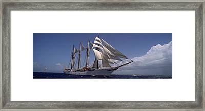 Tall Ship In The Sea, Puerto Rico Framed Print by Panoramic Images