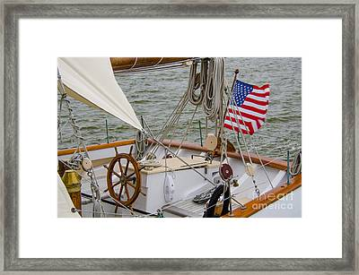 Tall Ship Wheel Framed Print by Dale Powell