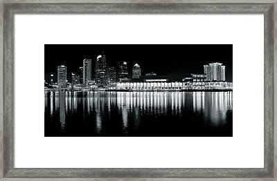 Tampa Black And White Panorama Framed Print