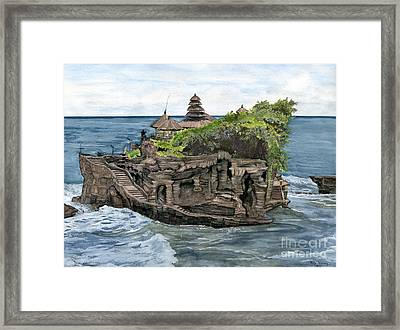 Framed Print featuring the painting Tanah Lot Temple Bali Indonesia by Melly Terpening