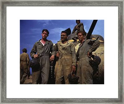 Tank Crew Standing In Front Of An M4 Framed Print