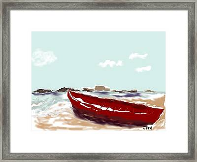 Framed Print featuring the painting Tattered Old Boat by Jessica Wright