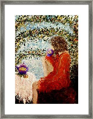 Framed Print featuring the painting Tea Time... by Cristina Mihailescu