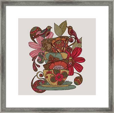 Teacups And Birds Framed Print by Valentina