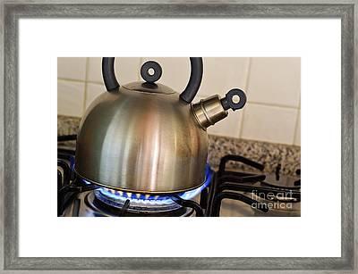 Teapot On Gas Stove Burner Framed Print