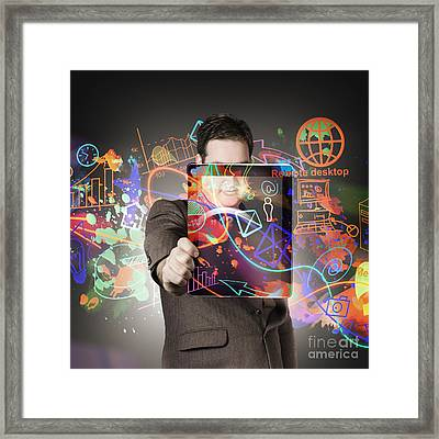 Technology Man With Network On Digital Tablet Framed Print by Jorgo Photography - Wall Art Gallery
